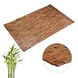 Relaxdays Esterilla de bambú, Enrollable, Antideslizante, Impermeable, 50x80 cm, Marrón