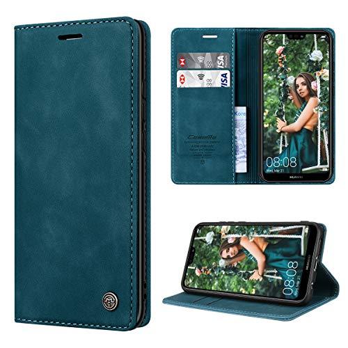 RuiPower per Cover Huawei P20 Lite Pelle Premium, Custodia Huawei P20 Lite Portafoglio Magnetica Flip con Silicone Bumper Cover Libro Huawei P20 Lite - Blu-Verde