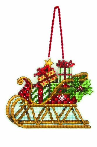 Dimensions Counted Cross Stitch Sleigh Christmas Ornament Kit, 4.5'' W x 3.5'' H