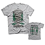HARRY POTTER Oficialmente Licenciado Slytherin 07 Camiseta para Hombre (Heather Gris), Small