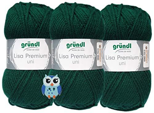 3x50 Gramm Gründl Lisa Premium Uni aus 100% Polyacryl Häkelgarn Schulgarn + 1 Eulen Knopf (16 Dunkelgrün)