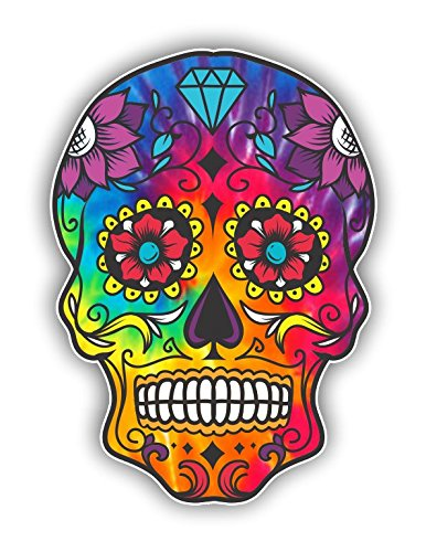 Vinyl Junkie Graphics Sugar Skull Sticker Dia de Los Muertos Decal Mexican Day of The Dead Stickers for Notebook car Truck Laptop Many Color Options (Rainbow Tie Dye)