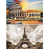Gran Arte Set de 2 Posters XXL - Edificios históricos - Coliseo de Roma y Torre Eiffel en Francia Monumento Antiguo Pared decoración póster Foto (140 x 100 cm)