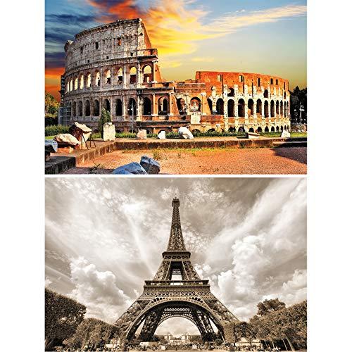 GREAT ART Set de 2 posters XXL | 140 x 100 cm | edificios históricos Coliseo de Roma y Torre Eiffel en Francia monumento antiguo | Foto Póster de Pared Mural Imagen Decoración