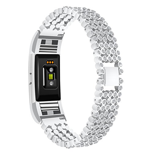 AISPORTS Fitbit Charge 2 Uhrenarmband Edelstahl Strass Bling Glitzer Smart Watch Bands Ersatzarmband Armband Armband Handgelenk Band für Fitbit Charge 2 Fitness Zubehör silber