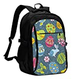 IUBBKI Bolsa para computadora mochila USB Painted Eggs and Other Holiday Symbols Office & School Supplies with USB Data Cable and Music Jack Laptop Bags Computer Notebook 18.1X13.3 inch