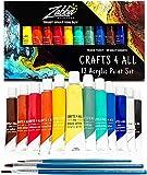 Pintura acrílica de Crafts 4 All para papel, tela, madera, cerámica, tejido y artesanía - no tóxica - 12 colores vibrantes de calidad - para artistas principiantes, estudiantes y profesionales