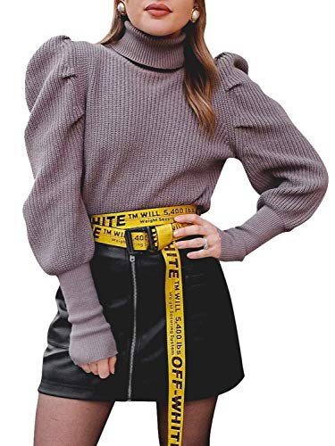 Material: 100% Acrylic, soft and skin-friendly, excellent breathability, keep warm, comfortable to wear. Features: Turtleneck design, puff sleeve, ribbed cuffs and hem, solid color, knitted pullover sweater. This cozy and soft sweater makes you warm ...