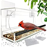 Window Bird Feeders with Sliding Feed Tray for Outside, Never Falling Off, Large Outside Bird Feeder for Wild Birds, Hanging Birdhouse Kit, Drain Holes, Super Strong Hooks