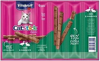 Vitakraft Cat-Stick Mini - Friandise premium pour chat saveur Canard et Lapin - 10 sachets de 6 sticks