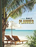 Undated Daily Planner: 8.5x11 One Page Per Day Diary / 365 Logs / 6AM to 7PM Hourly Schedule / Blue Ocean Lounge Chairs Palm Tree - Beach Art Photo / To Do List Notebook / With Note Section / Time Management Gift For Organized People