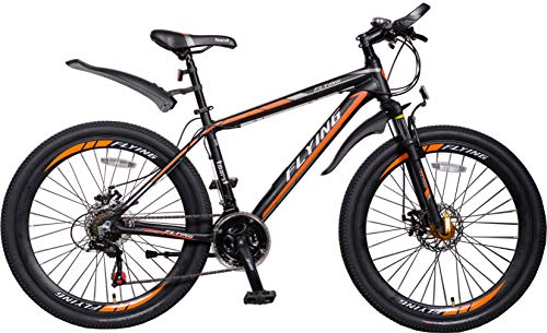 Flying Unisex's Alloy Frame with Shimano Parts Lightweight Mountain Bike Disc Brake 21 Speeds, Black Orange 3, 26