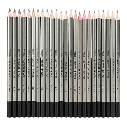 EBES Dibujo 24PCS Lápices de Dibujo del Artista y Bosquejo Material de...