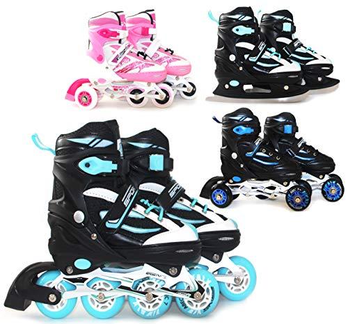 SportVida Inline Skates Kinder Erwachsene Inliner 4in1 | Verstellbare Schlittschuhe | Triskates Größenverstellbar ABEC7 Lager | Rollschuhe in Größen 31-42 | Pink Blau Türkis (Schwarz-Türkis, 31-34)