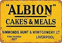 ヴィンテージはがきアート装飾インチ、アルビオンケーキと食事、楽しいサイン金属家の装飾のプロパティ通知サインプラークの面白い警告サイン