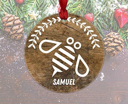 Bienenen-Ornament, Weihnachtsdekoration, personalisiertes Imker Geschenk, rustikale Holzbiene