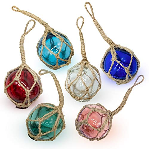 SAILINGSTORY Glass Fishing Float Beach Ornaments for Christmas Tree 2', Beach Decor Glass Fishing Buoy Nautical Christmas Ornaments Set of 6 Color Pack