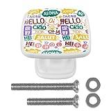 [4 piezas] pomos de aparador, coloridos pomos decorativos para cajón, decoración del hogar, diseño de palabras de Hello-Words