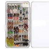 YZD Forellenfliegenfliegenfischen, 194/118/69 Premium Fliegen trocken nasse Nymphe Sortiment mit Fliegenbox Fliegenfischen Köder Kits, Realistic & Classic Fly Selection 78 Pcs