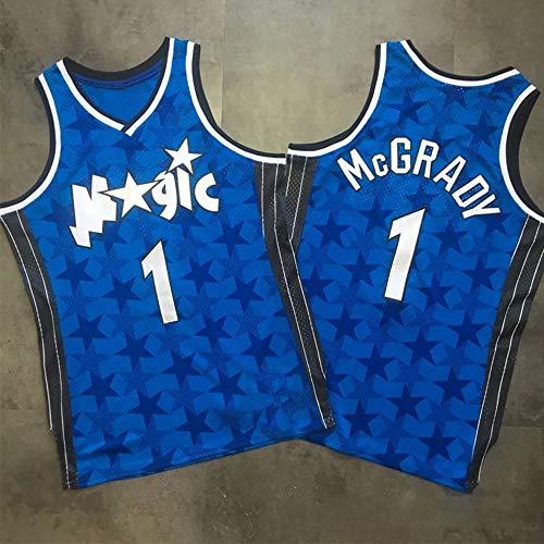XXMM Camiseta De Baloncesto para Hombre, Camiseta De La NBA Orlando Magic # 1 Tracy McGrady, Chaleco De Uniformes Transpirables, Ropa Deportiva De Entrenamiento Sin Mangas,Azul,L(175~180CM)
