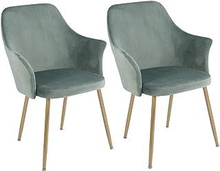 DORAFAIR 2er Set Samt Esszimmerstuhl Retro Sessel Polstersessel mit Metall Gold Beine, Küche Stühle und Wohnzimmer Stühle, Grün
