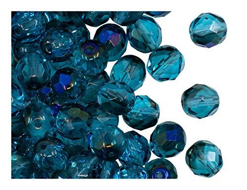 25 pcs Tchèque facettes perles de verre, Fire-Polished ronde 8 mm, Aquamarine Azuro