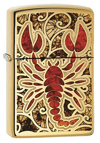 Zippo 60002138 PL Scorpion Feuerzeug, Messing, Edelstahloptik, 1 x 3,5 x 5,5 cm