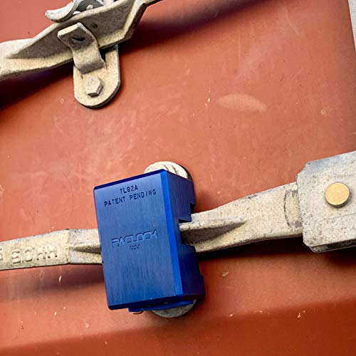 PACLOCK's TL82A Container Lock, Buy American Act Compliant, Blue Anodized Aluminum, High Security 6-Pin Cylinder, One Lock Keyed to #26541 w/ 2 Keys, Hidden Shackle