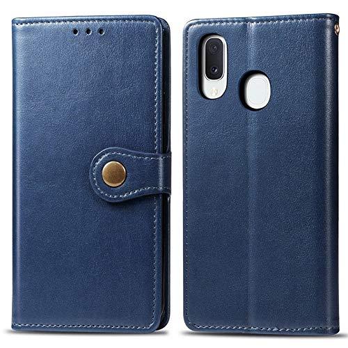 Happy-L Caso Samsung Galaxy A20E, Funda Delgada de Cuero PU Premium PU con Caja de Billetera de Cierre magnético Fuerte de Doble vía (Color : Blue)