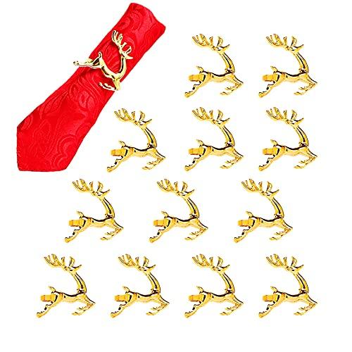 Anloo Deer Elk Noël Ronds de Serviette Lot de 12, Ronds de Serviette de Noël Or pour Thanksgiving Noël Nouvel an