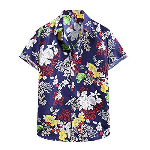 Camiseta de manga corta para hombre, diseño de flores hawaianas A_azul. M