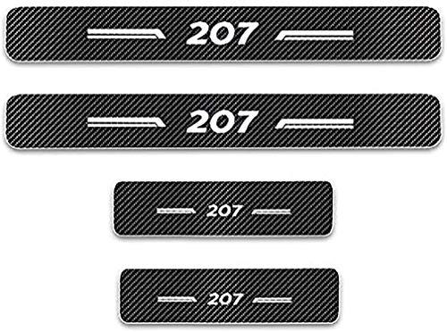 Baozengry 4 Piezas De Placas De ProteccióN para El AlféIzar De La Puerta De Fibra De Carbono para AutomóVil, ProteccióN De Moldura De Pegatina AntiarañAzos para Pedal De Umbral, para Peugeot 207