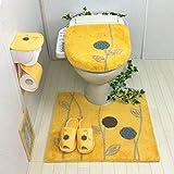 トイレマット 4点セット 金運の黄色 北欧(60×64cmトイレマット+ 洗浄暖房型 ふたカバー + スリッパ + ペーパーホルダーカバー ) オカ エトフ イエロー 花 風水