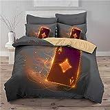 XUNGENG - Juego de ropa de cama 3D de microfibra, con símbolos de póker y tarjetas de Poker, juego de cama para adulto, 220 x 240 cm