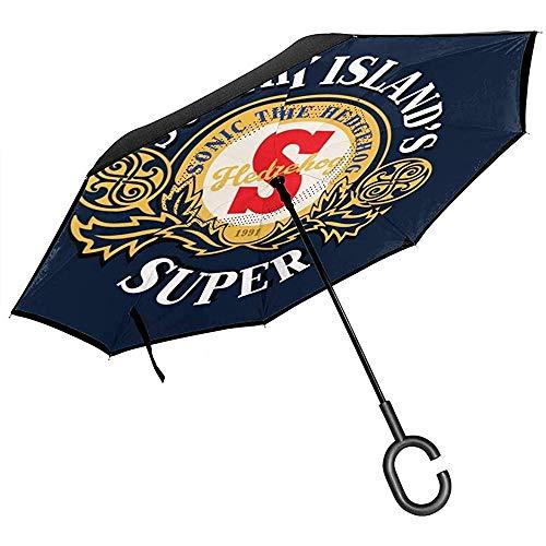 The Hedgehog South Islands Super-inverted paraplu voor op het hoofd geklapte handen in C-vorm lichtgewicht, winddicht