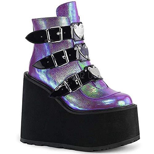 MissHeel Plateau Gothic Boots Aabsatz Stiefeletten Keilabsatz Damenschuhe Boots Platform Lila Hochhackige Stiefel 43