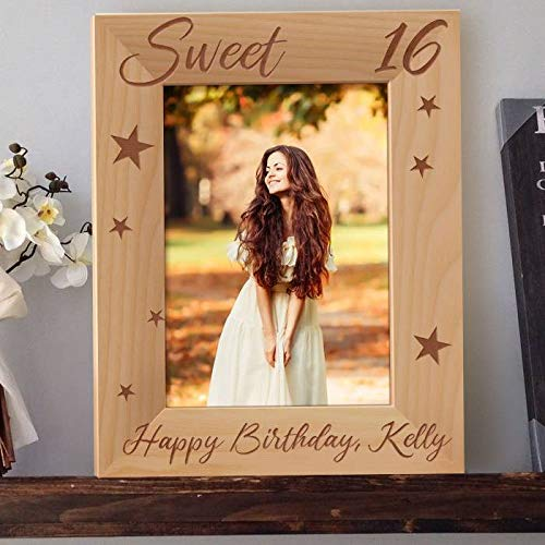 Happy Sweet 16 Birthday Personalized Wooden Picture Frame 5' x 7' Brown (Vertical)