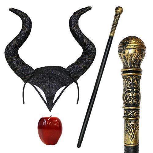 Maleficent Halloween Gothik Hupe Cosplay Verkleidung Kopfschmuck & Staff - Schwarz