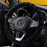 Coprivolante volante caldo in finta pelliccia invernale adatto per la maggior parte degli accessori interni per auto 37 cm 38 cm (nero)