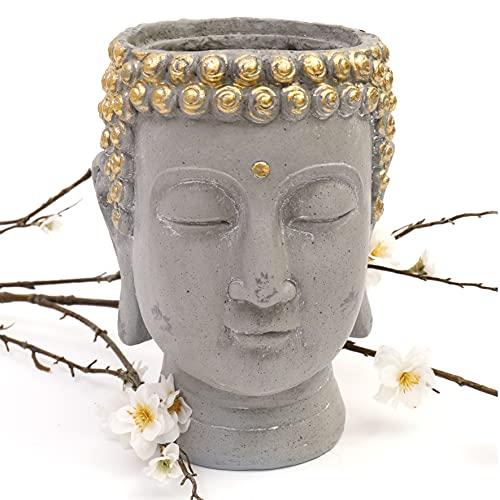 Annibells Buddha Head House Plant Flower Pot Display Stone Effect Garden Planter