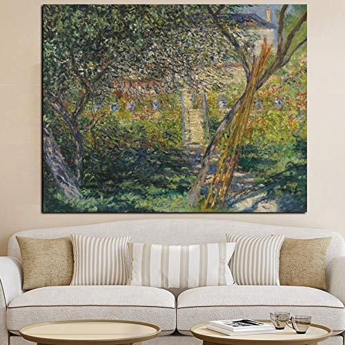 wZUN Impresión HD Lienzo Arte de la Pared jardín en Paisaje impresionista Pintura al óleo Imagen del Cartel para la Sala de Estar 50x70 cm