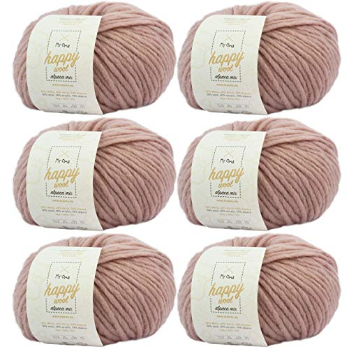 MyOma Alpakawolle Stricken -6X Happy Wool Alpaca Mix Puder (Fb 67)- 6 Knäuel Wolle rosa + GRATIS Label – Wolle mit Alpaka – 50g/80m – Nadelstärke 7-8mm – Wolle zum Häkeln – rosa Wolle
