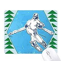 ウィンタースポーツスノーボードのイラスト オフィスグリーン松のゴムマウスパッド