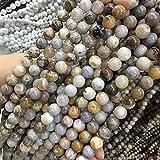 JSJJAUJ Colgantes Cuentas de Piedra Natural Agates de Hoja 4/6/8/10 / 12mmound Ball Beads Sueltas Bricolaje Accesorios de Pulseras Collars (Item Diameter : 6mm)