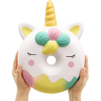 Anboor 13 Inches Squishies Jumbo Unicorn Donut Kawaii Soft Slow Rising Scented Giant Doughnut Squishies Stress Relief Kid Toys (White)