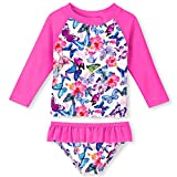 UNIFACO Toddler Little Girls Rash Guard Sets Long Sleeve Beach Swimsuits Butterfly Flower Swimming Suits 2-Piece Bathing Suits Outfit for Summer Holiday Vacation 7-8 Years Old