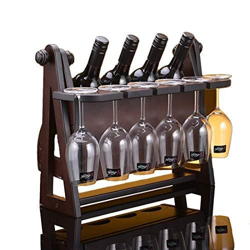 GUOCAO Botellero de madera, apilable, almacenamiento para 4 botellas de capacidad para encimera y muebles de apartamento, estante para vino