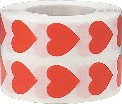 Rossi Adesivi a Cuore, 13 mm 1/2 Pollice Etichette per San Valentino 1000 Pacchetto