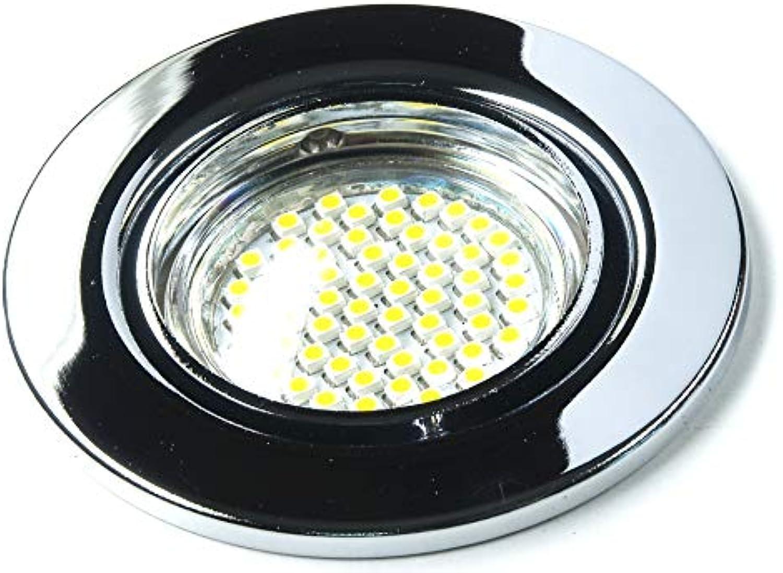 6er Set 230Volt LED SMD Einbaustrahler Alva. Spot in Farbe  chrom inkl. GU10 60er SMD Leuchtmittel Lichtfarbe  Kaltwei 6000K + Fassung 3Watt = 25Watt .Downlights