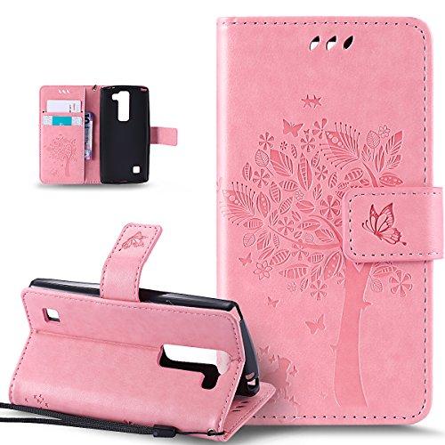 Coque LG C70,Etui LG C70,ikasus Gaufrage Embosser Chat papillon Fleur Floral arbre Housse en Cuir PU Etui Housse en Cuir Portefeuille de Protection Flip Case Etui Coque pour LG C70,Rose